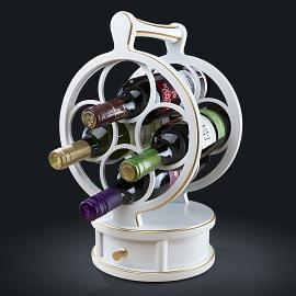 Винная подставка из натурального дерева на 4 бутылки. Цвет Белый с патиной золото