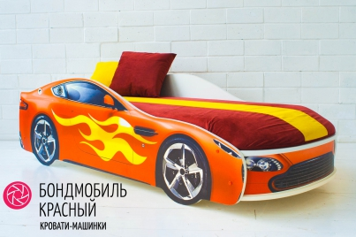 Детская кровать с подъёмным механизмом Бондмобиль красный (с чехлом)