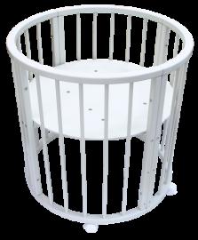 Круглая кроватка-трансформер 6 в 1 Белая