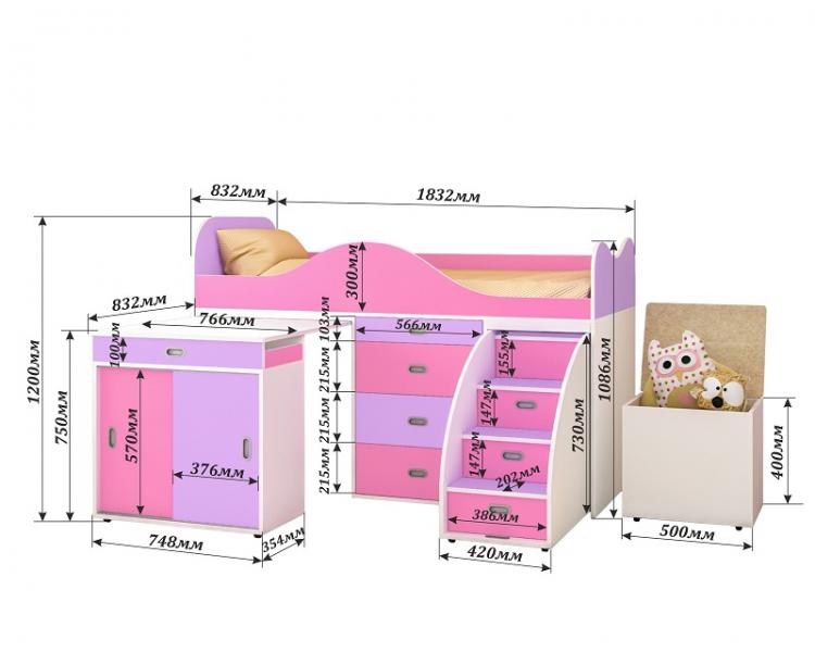 Кровать-чердак Малыш 80*180