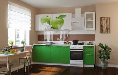 """Кухонный гарнитур """"Яблоко + зеленый"""" 2000 мм"""